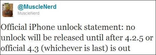 iPhone 4 解鎖方案只會在 iOS 4.3/ iOS 4.2.5 推出後才發佈