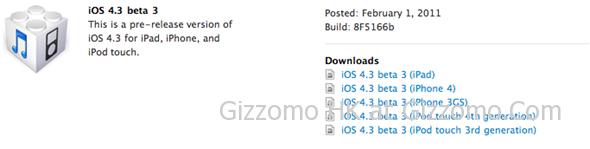 Apple 推出 iOS 4.3 Beta 3 開發者版本更新