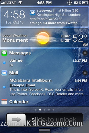 在 iPhone Lock Screen 啟用 iOS 5 Notification Center (IntelliScreenX Beta)
