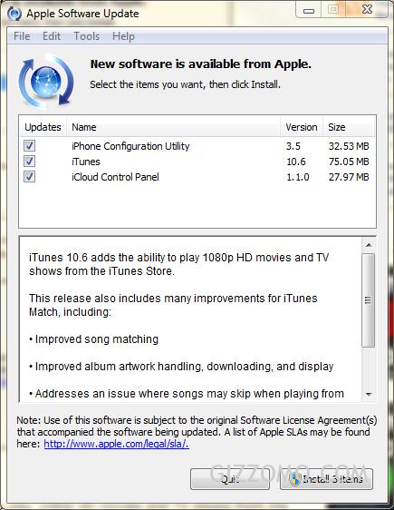 下載 iTunes 10.6 for Windows 及 Mac